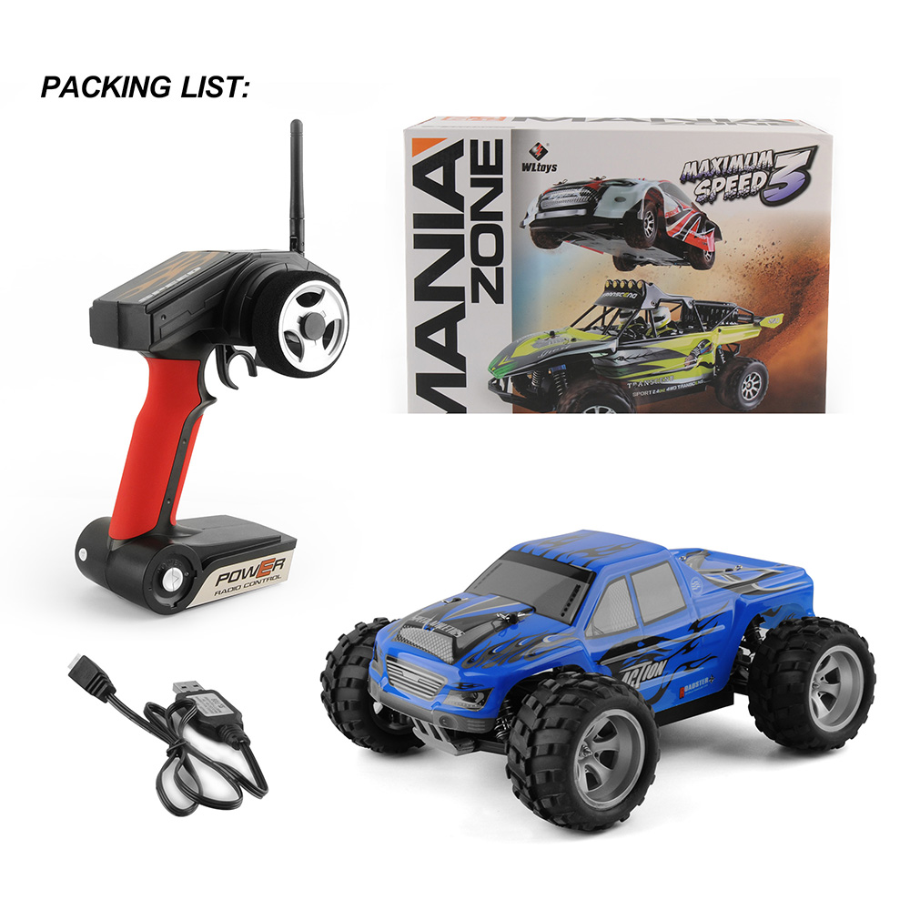Wltoys A979 RC Car 2.4G 50km/h High speed Radio Controled Machine Scale 1/18 Rally Shockproof Rubber wheels Buggy RTR Xmas Gifts blue_1/18