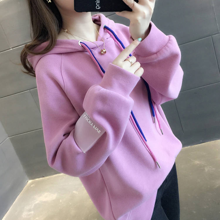 Women Loose Thickening Fleece Lined Casual Sport Hooded Pullover for Autumn Winter   pink purple_2XL