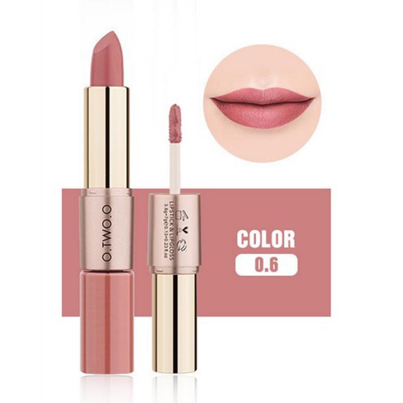 Women New 2 in 1 Waterproof Matt Lip Glaze Lipstick Pencils Beauty Makeup