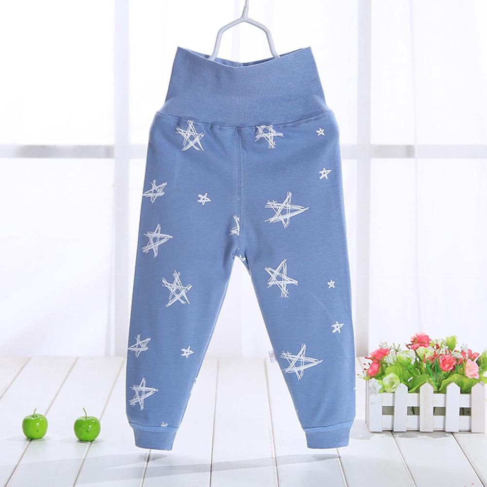Baby Toddler Children Autumn Soft Cotton Open Seat High Waist Star Pattern Pants High waist blue five stars_80/55 yards