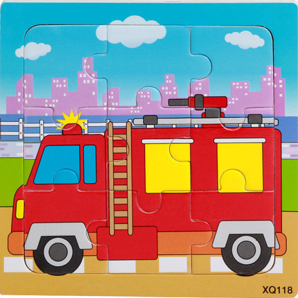 9 Slices Kids Wooden Vehicle Pattern Puzzles Jigsaw Baby Educational Learning Toy Fire truck
