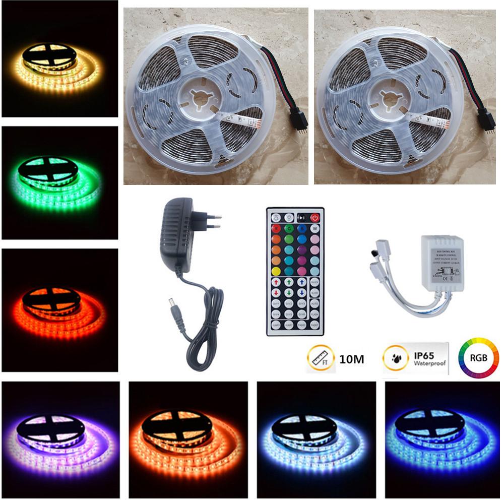 [US Direct] 10M RGB LED Waterproof Strip Lights+44Keys Remote Control+Adapter U.S. regulations