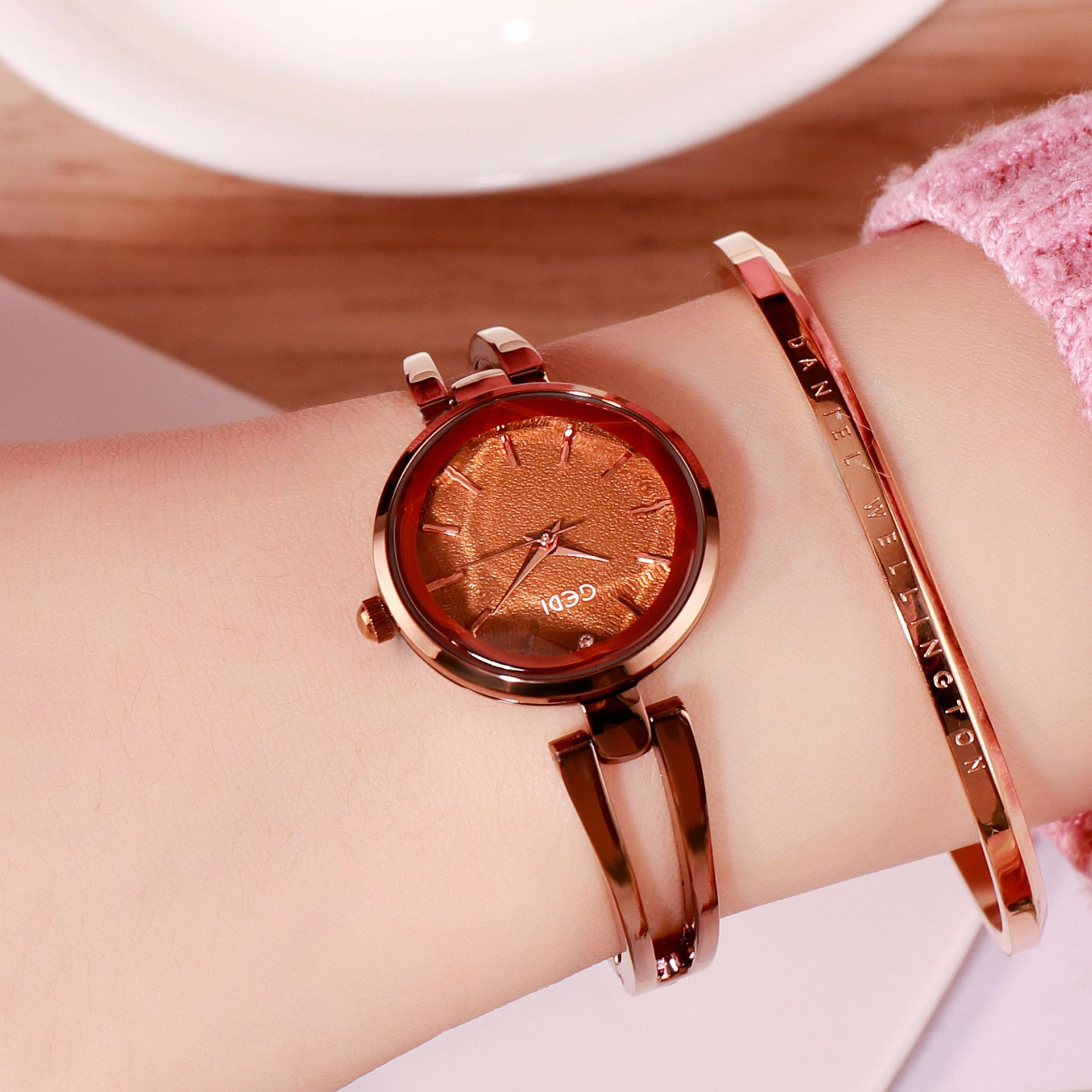 Women Stainless Steel Waterproof Bracelet Watch with Spiral Case for Casual Office  Coffee color shell coffee dial