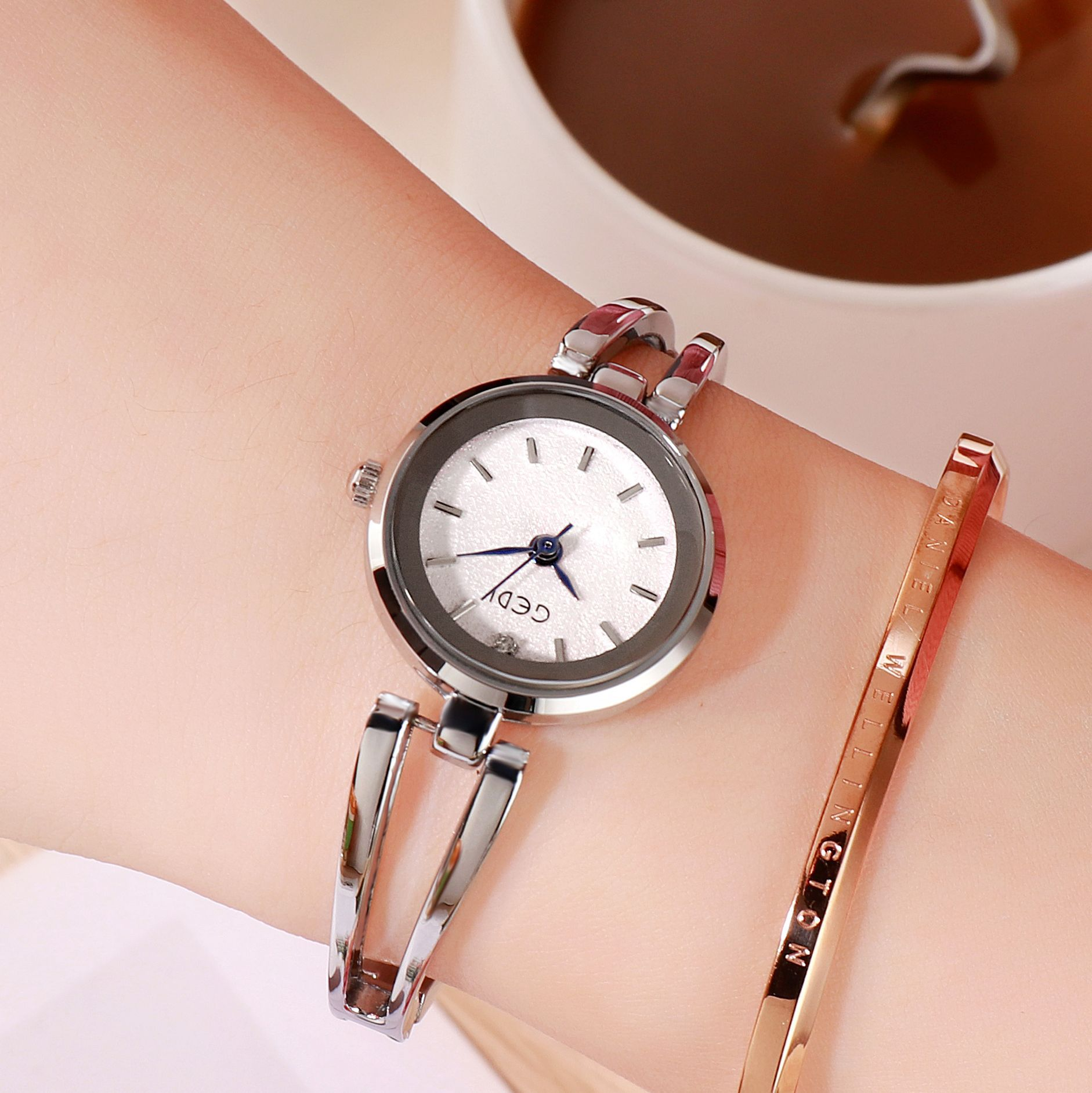 Women Stainless Steel Waterproof Bracelet Watch with Spiral Case for Casual Office  Silver shell white dial