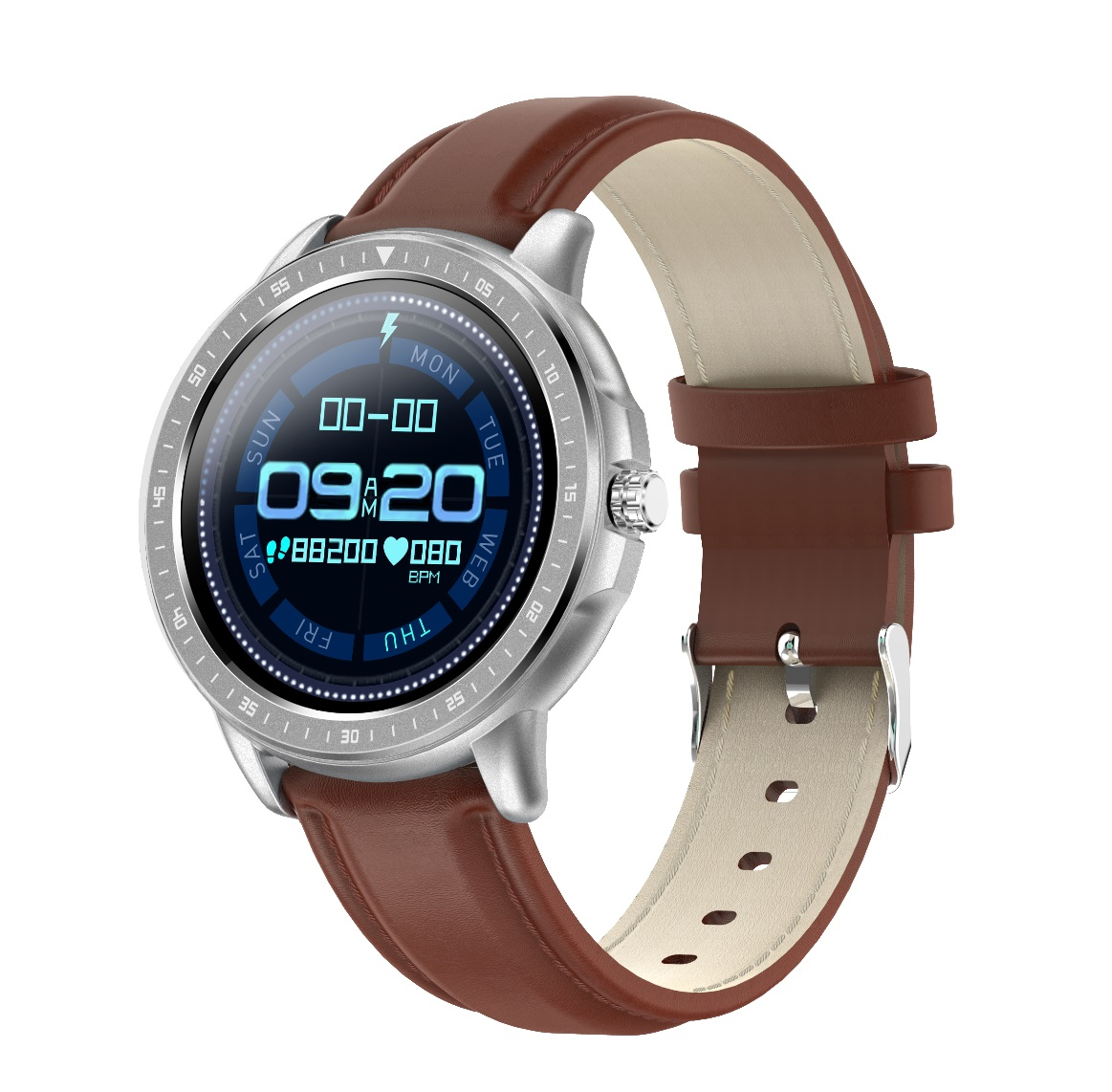 CF19 Smart Bracelet Round Dial 240*240 Touch Screen Heart Rate Monitor Step Counts IP67 Waterproof Wristwatch Silver
