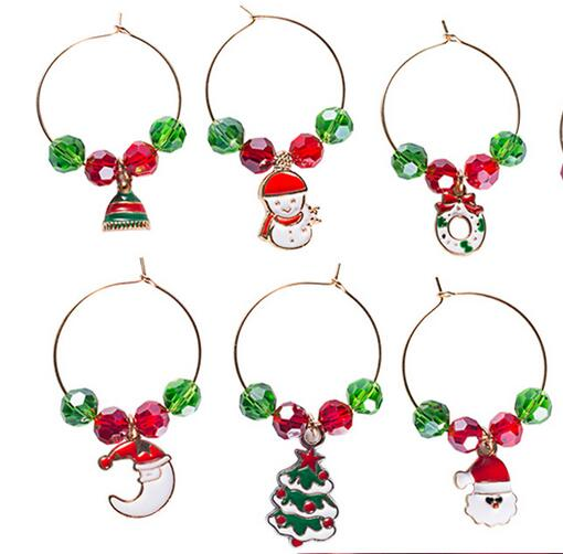 Wine Glass Pendants Decoration Christmas Party New Year Table Decorations Cup Ring Metal Ring Decor Santa Claus