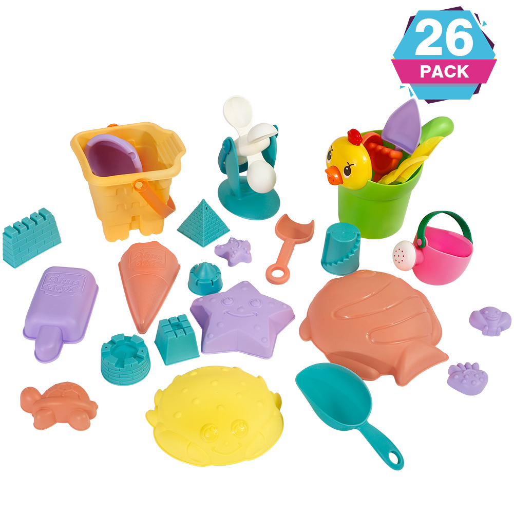 [US Direct] Geefia Funny Beach Sand Toy Tool Set, High-Quality PP Made Beach Sand Toy for the Beach, Swimming Pool, Seaside etc(26pcs)