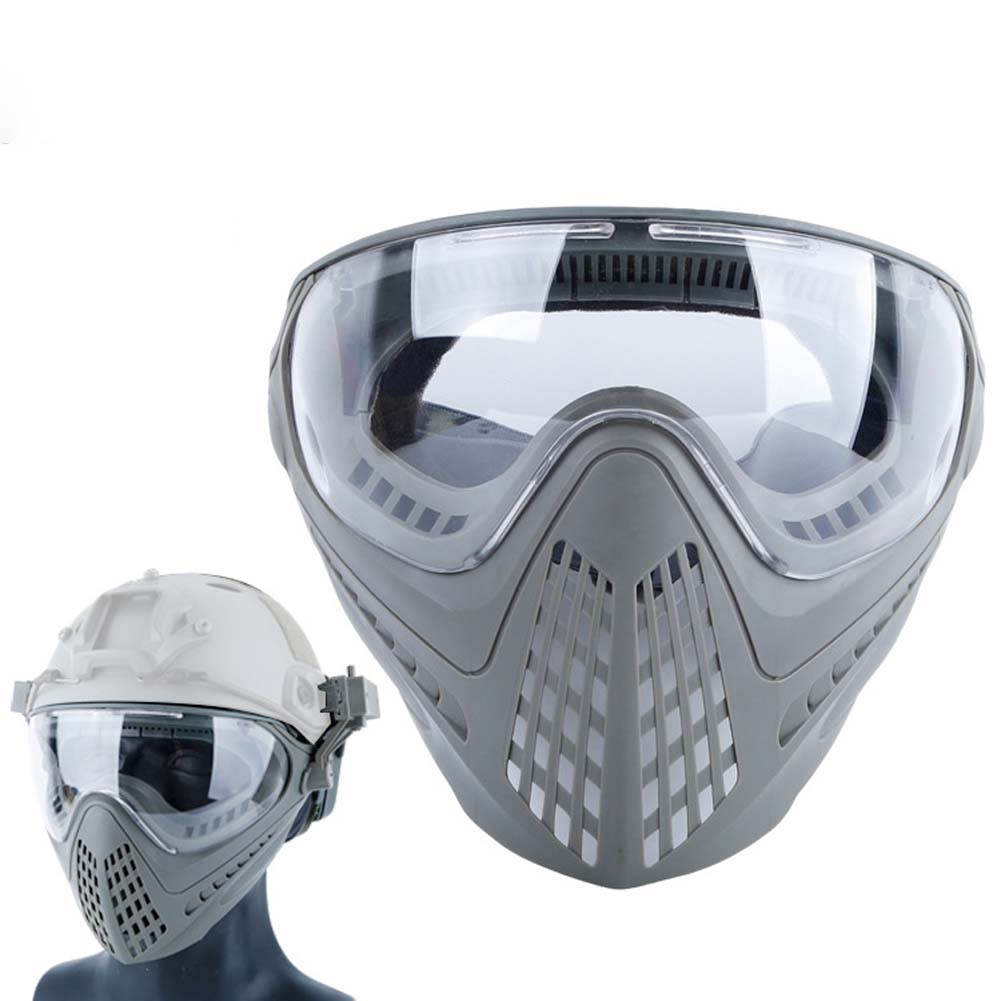 Airsoft Paintball Masks With Glasses Hunt Full Face Mask Outdoor Sports Nylon Strikeball Masks gray