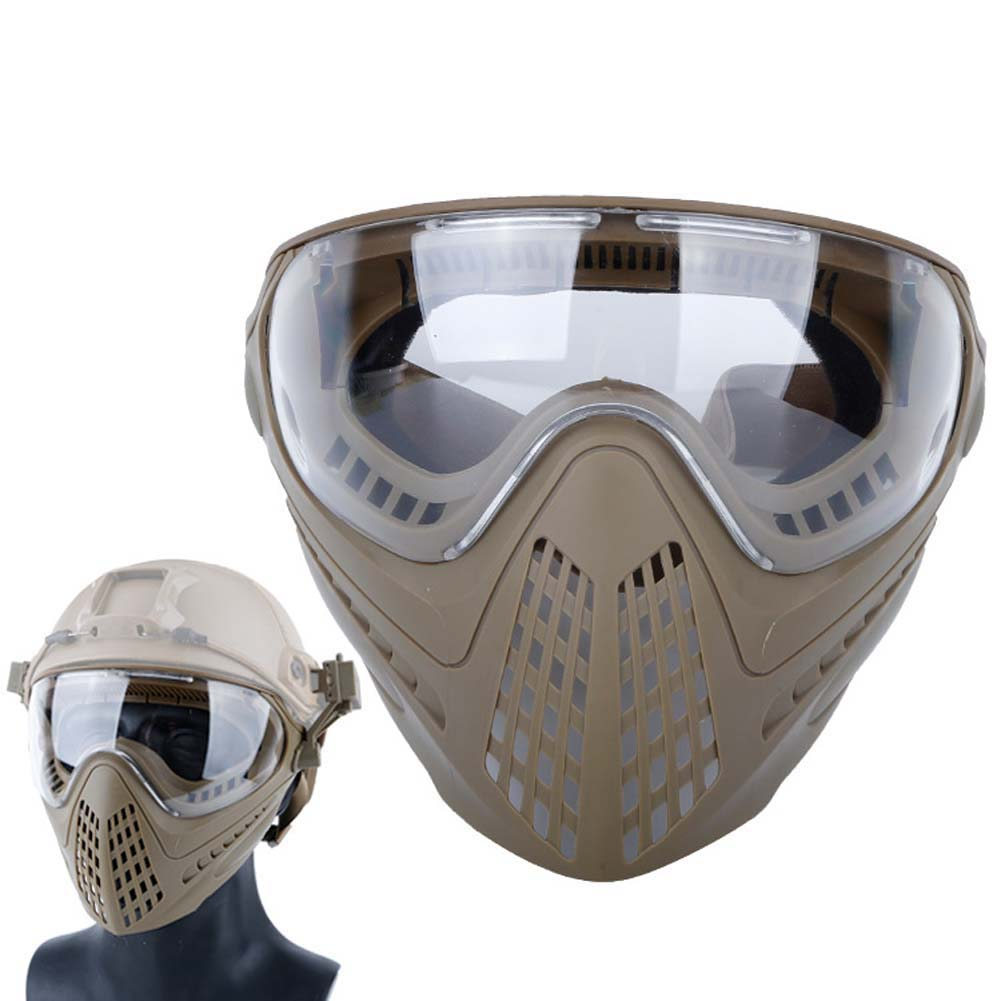 Airsoft Paintball Masks With Glasses Hunt Full Face Mask Outdoor Sports Nylon Strikeball Masks Mud color