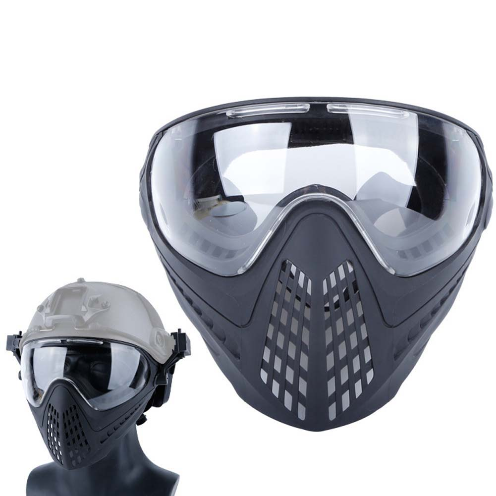 Airsoft Paintball Masks With Glasses Hunt Full Face Mask Outdoor Sports Nylon Strikeball Masks black
