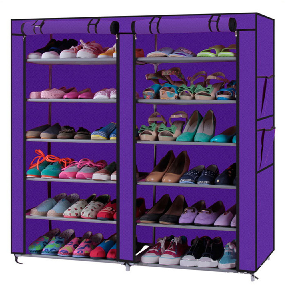 [US Direct] Non-woven Fabric Shoe Cabinet 6-layer Double-row 12-compartment Shoe  Organzier Container Purple