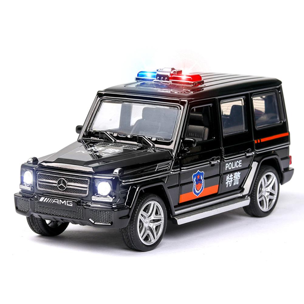 1:32 Simulation Police Car Children's Vehicle Toy with Sound Light Effect Home/Car/Bookshelf Decoration black