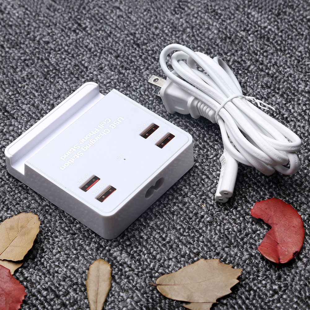4 USB Ports Mobile Phone Travel Charger Fast Charge Multi-port Smart Bracket USB Charger UK Plug