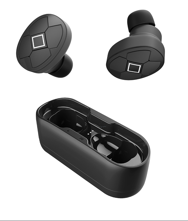 Bluetooth 5.0 Wireless Earphones With Charge Box Sports Headset 3D Stereo With Dual Microphone black