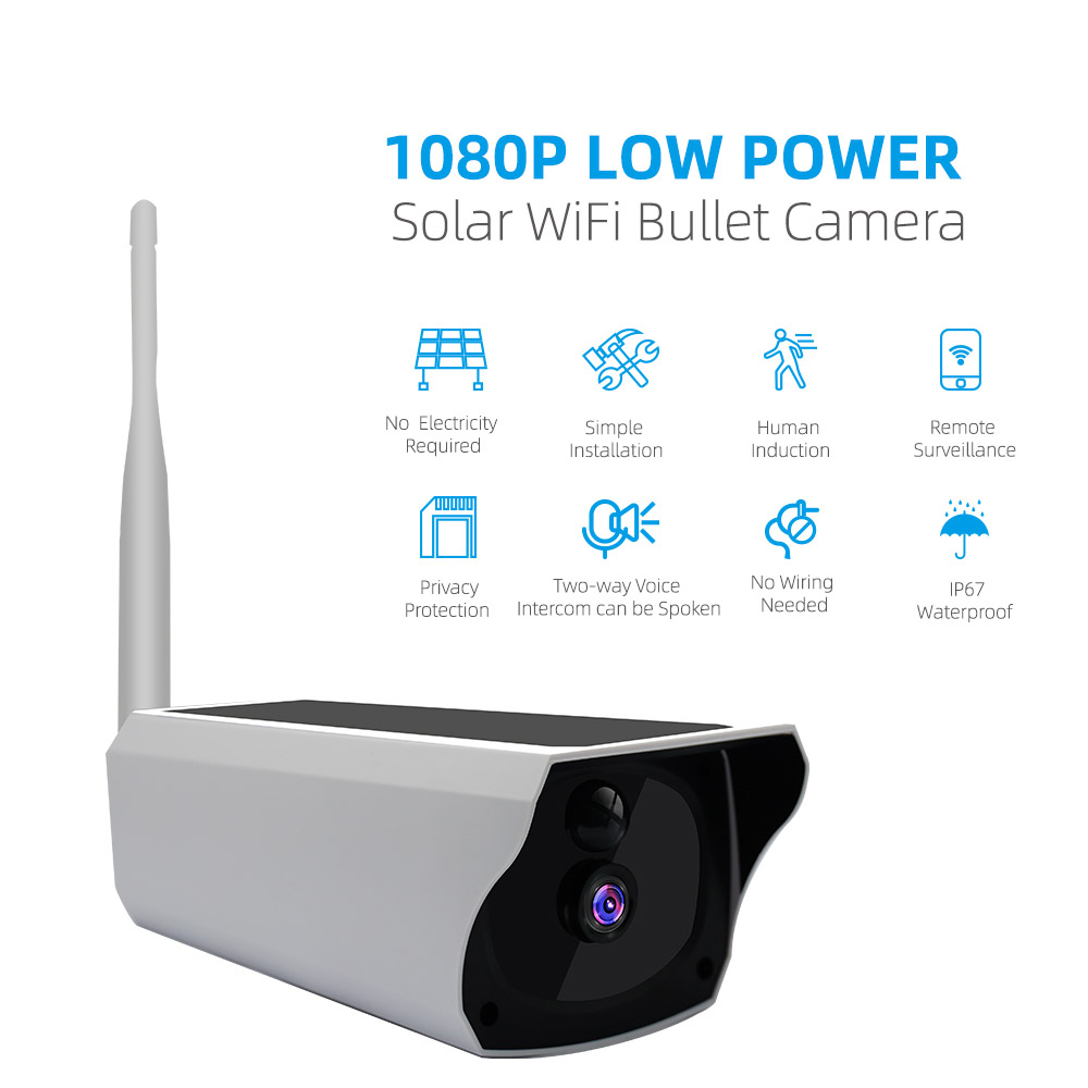 Solar Camera 1080P HD Solar Charging WiFi Camera Outdoor Night Vision Battery Camera 10m Infrared Distance white