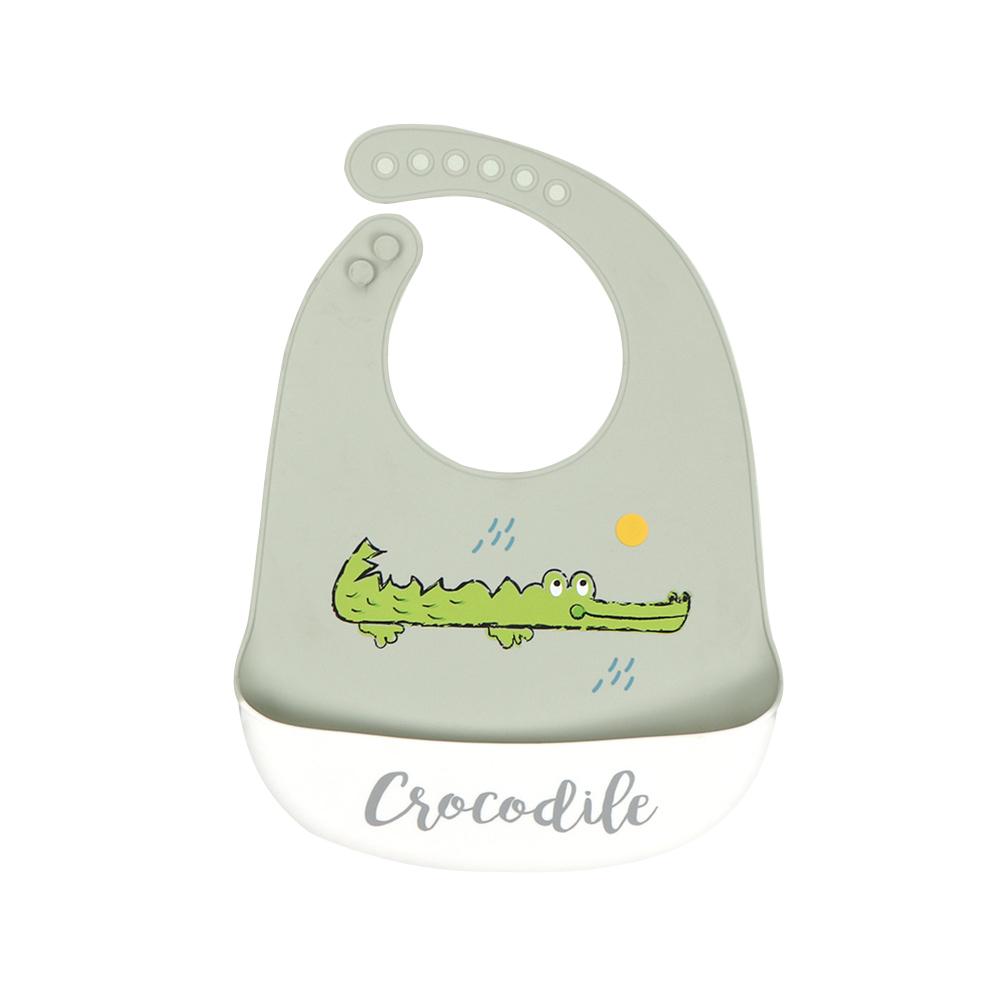Silicone Baby Bib Adjustable Fit Waterproof Baby cartoon silicone bib Big mouth crocodile