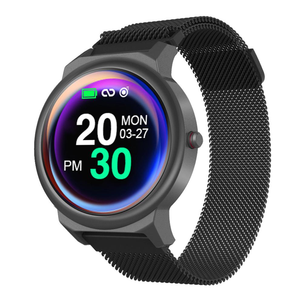 LEMFO ELF1 Smart Bracelet 1.3 Inch Full Touch Screen Heart Rate Monitor Blood Pressure Metal Case Smartwatch black