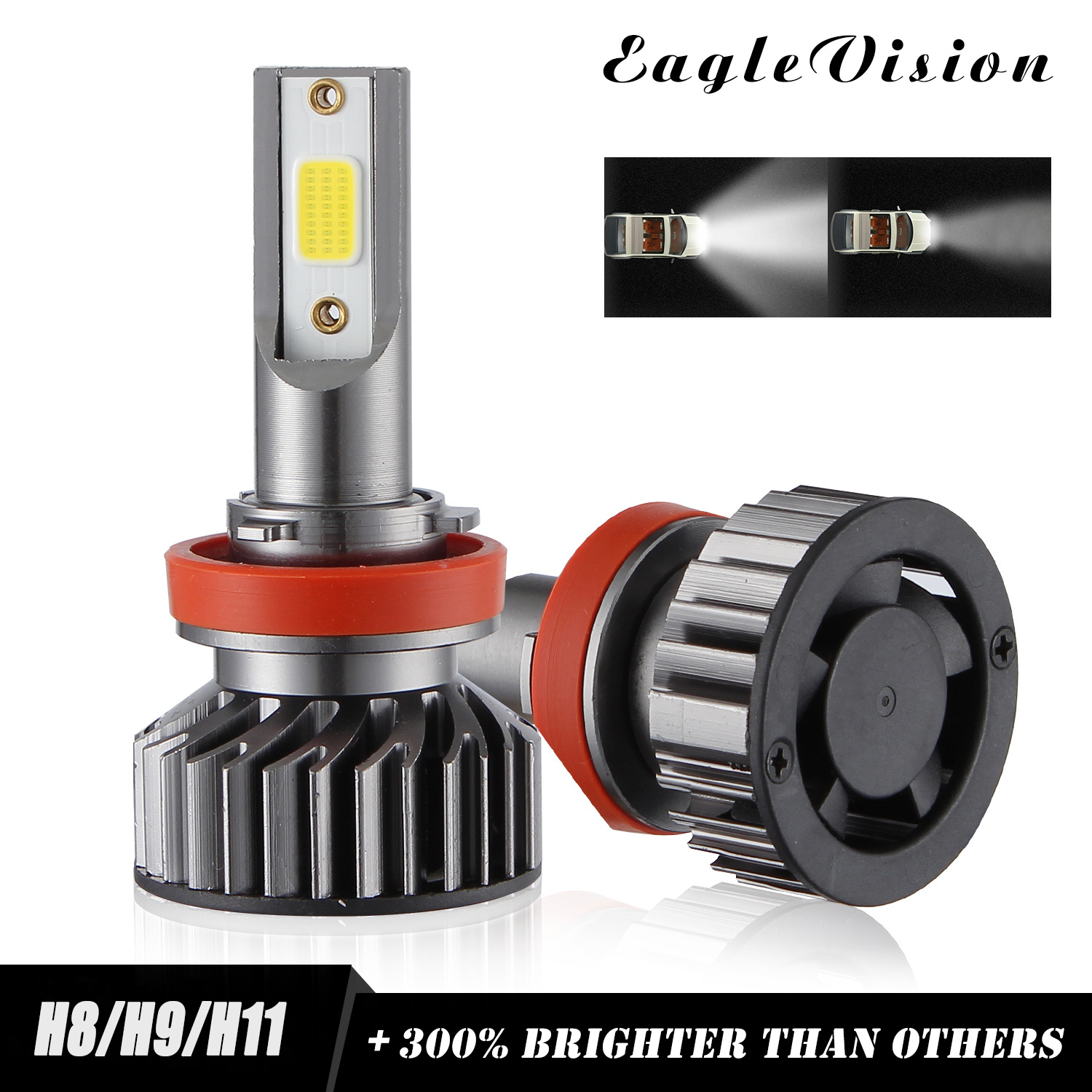 2PCS Mini Car LED Headlight Bulb H1 H7 H8/H9/H11 9005/HB3 9006/HB4 H4/HB2/9003 Hi/Lo 72W 10000LM 6000K Car Headlamp H8/H9/H11