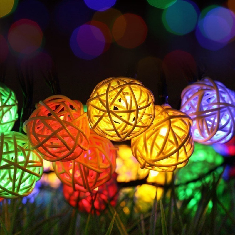 1M 10LEDs  Rattan Balls String Light Night Lamp for Christmas Holiday Wedding Party Decoration  Colored light