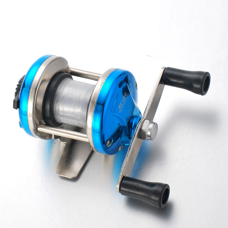 Mini Metal Bait Casting Spinning Reel Ice Fishing Reel Fish Water Wheel Baitcast Roller Blue metal base