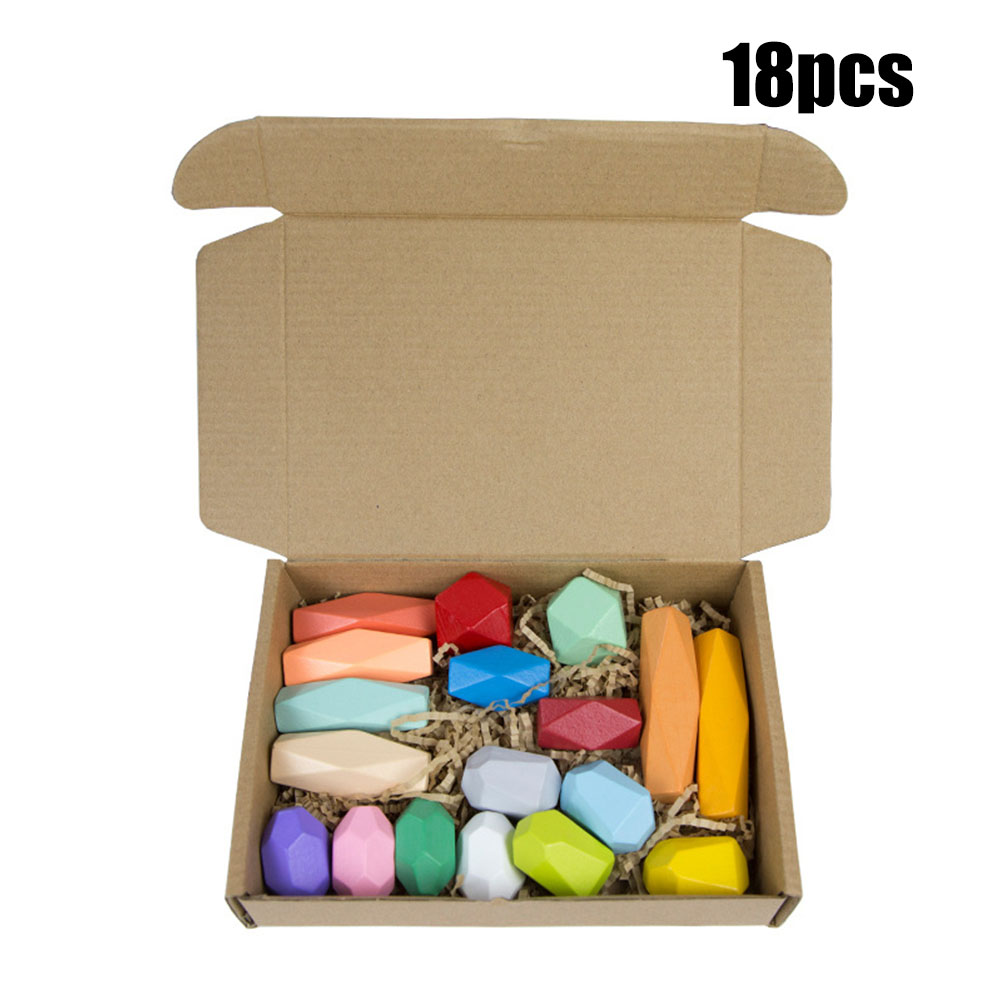 Wooden Colored Stone Building Block Educational Toy Stacking Game Toy color stone 18A