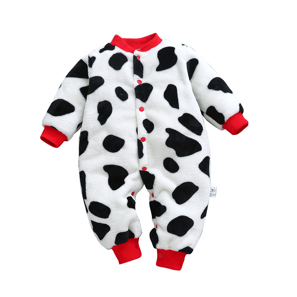 Baby Infants Girls Boys Cartoon Printing Flannel Romper Homewear Cow dot_59cm [3M recommended height 59cm]_3M