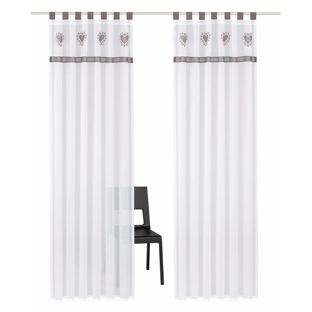 Splicing Embroidered Curtain High Density Terylene Yarn Drapes for Living Room Bedroom Balcony Gray suspenders_140cm wide X 225cm high