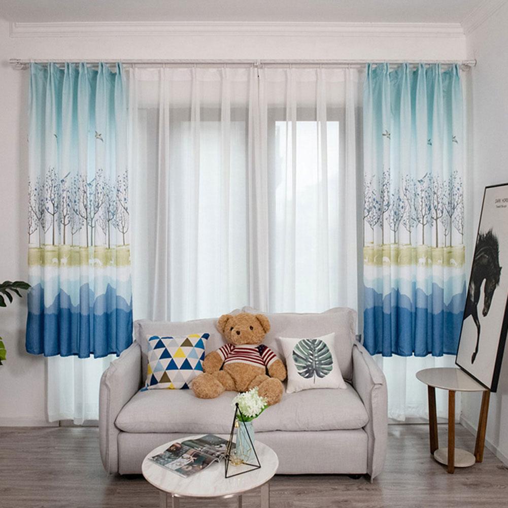 Bird Tree Pattern Window Curtain Half Shading Drapes for Living Room Bedroom Balcony blue_1 * 2m high hook
