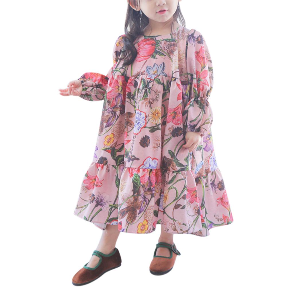 Children Girls Lovely Princess Dress Long Sleeve Flower Fairy Skirt Birthday Party Dress Gift