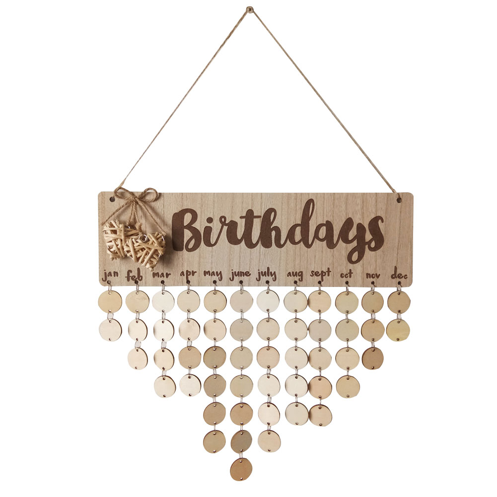 Wooden Calendar Birthdays Round Printed Lowercase Wall Calendar Sign Special Dates Reminder Board Home Hanging Decor Gift