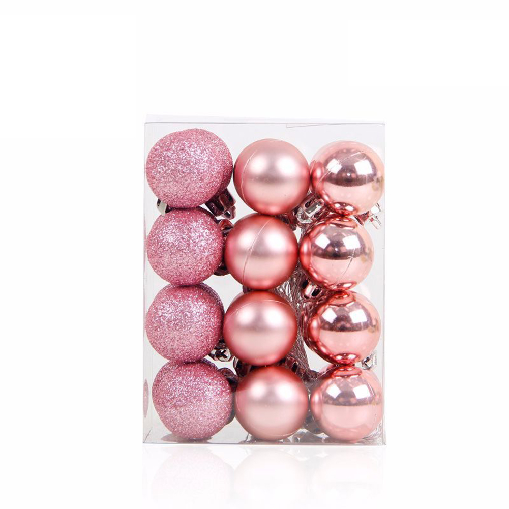 3CM  24pcs Christmas Xmas Tree Party Ball Hanging Ball for Christmas Party Decoration Pink