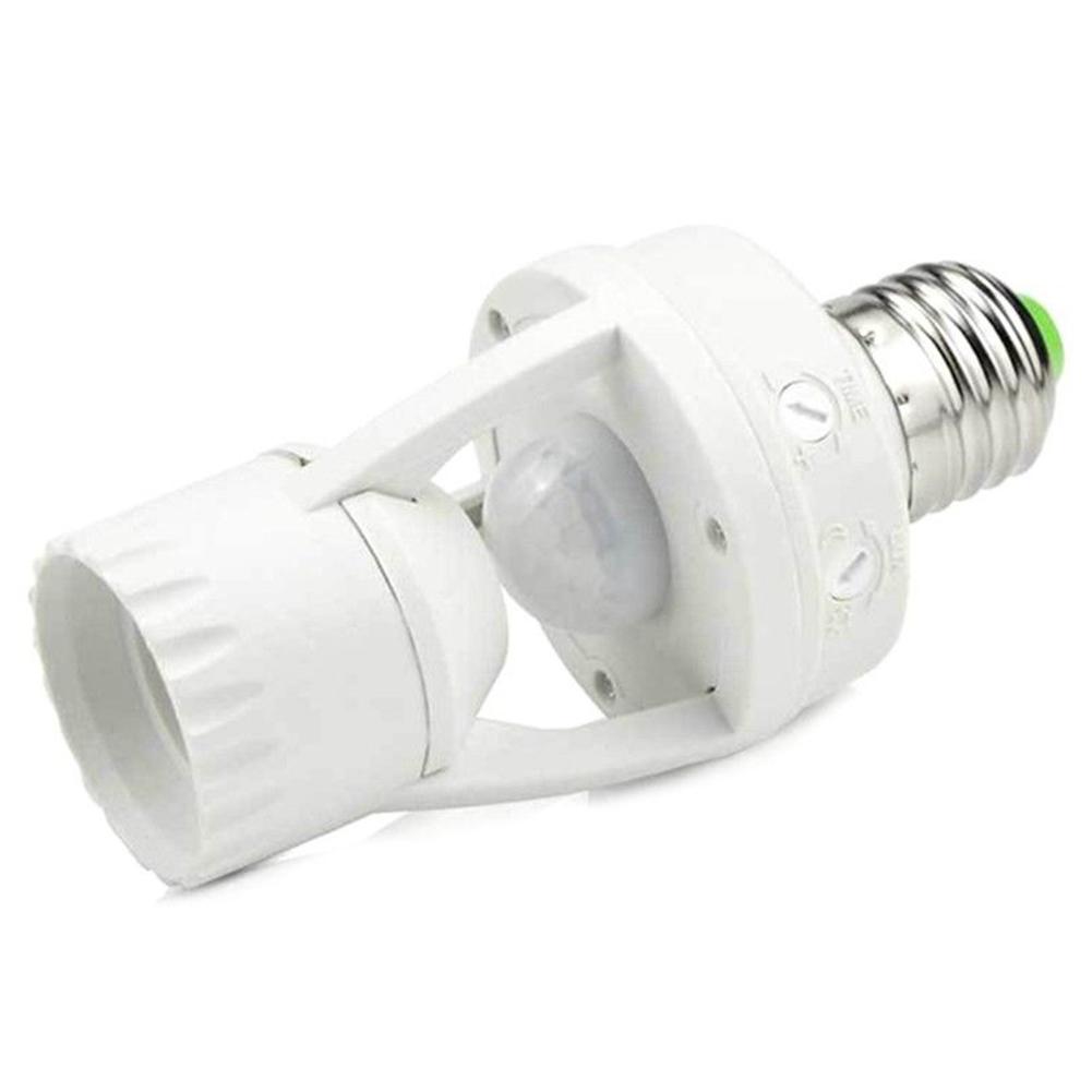 E27 LED Lamp Bulb Holder Light Socket Switch Infrared PIR Motion Sensor white