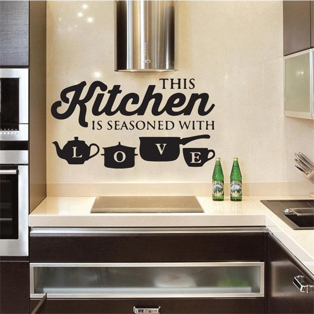 Personality Kitchen Love PVC Removable Letter Kitchenware Wall Sticker black