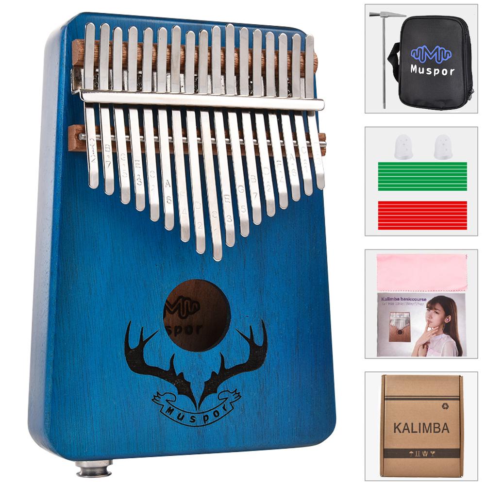 17 keys EQ kalimba Mahogany Thumb Piano Kalimba Finger Piano with Electric Pickup Tuner Hammer Beginner Music Learning blue