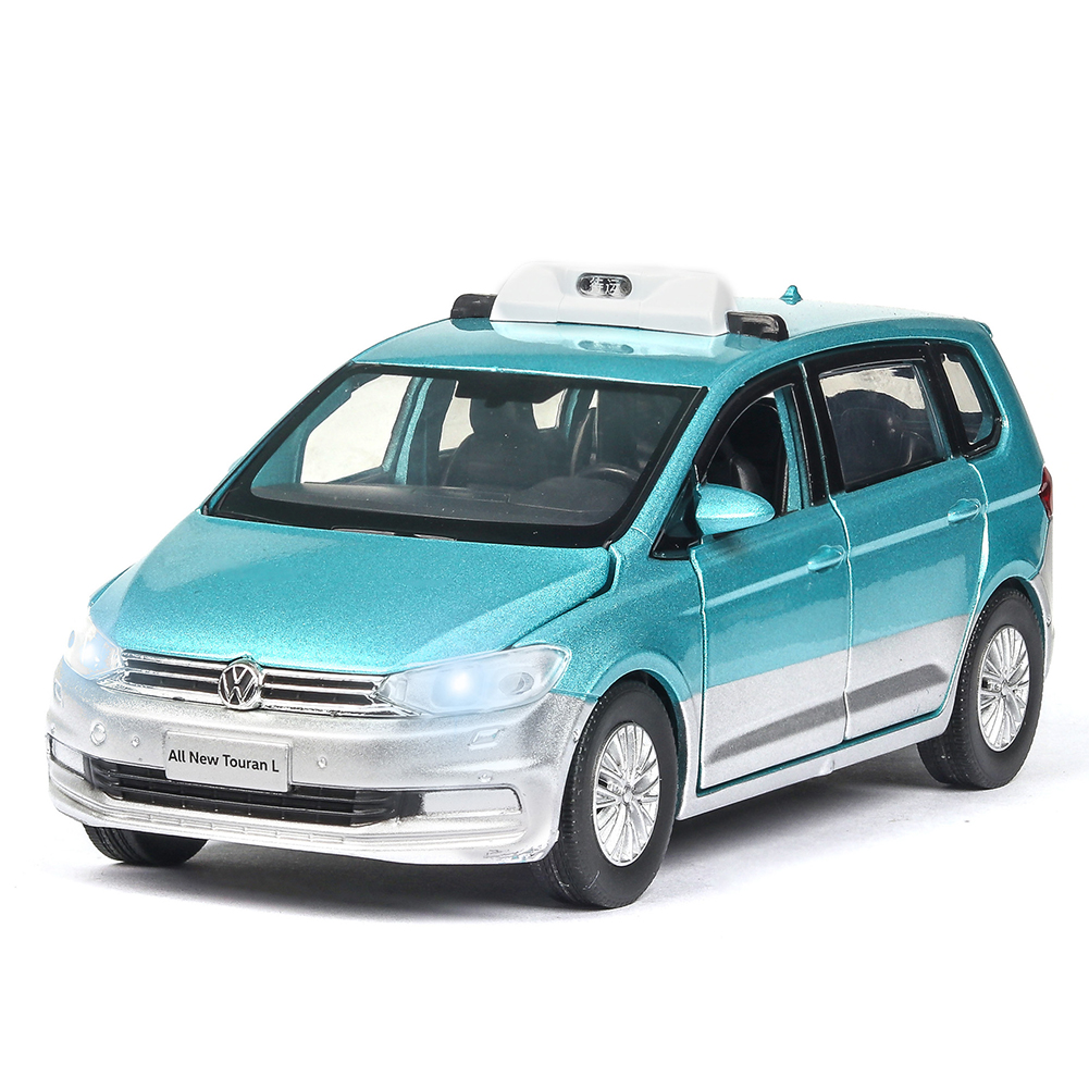 1:32 Simulation Taxi Model Children Car Toy Diecast Metal Pull Back Vehicle with Sound Light Effect For Gift/Collection