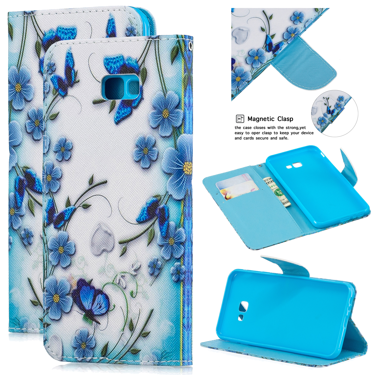 For Samsung J4 Plus/J6 Plus Cartoon Phone Shell Delicate Smartphone Case PU Leather Overall Protective Wallet Design Magic butterfly