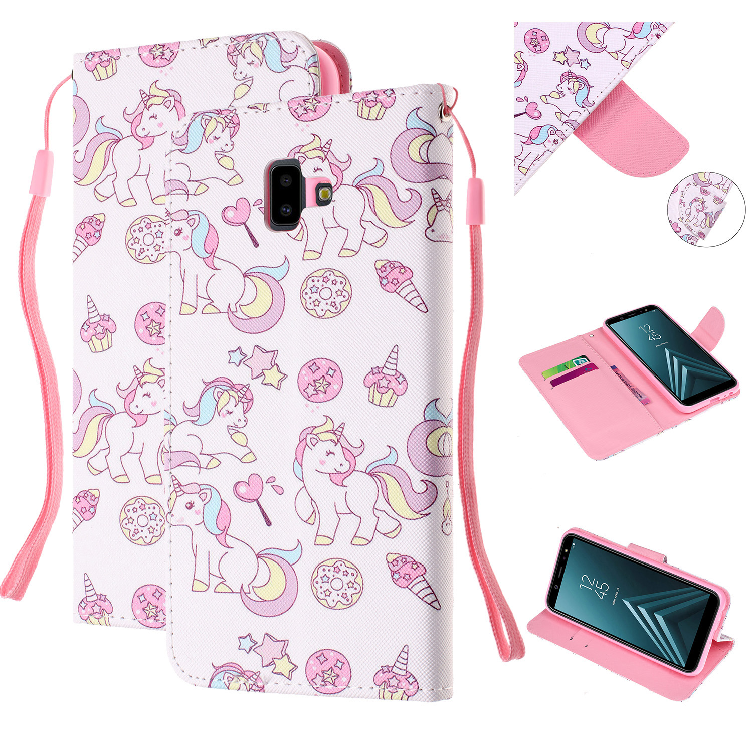 For Samsung J4 Plus/J6 Plus Cartoon Phone Shell Delicate Smartphone Case PU Leather Overall Protective Wallet Design Ice cream unicorn