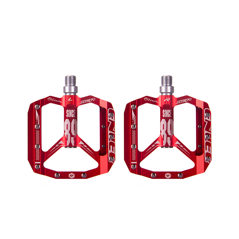 Bicycle Ultra Light Bearing Aluminum Alloy Pedal Mountain Bike Riding Spare Parts red_One size