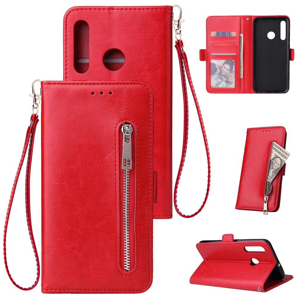 For Huawei Enjoy 9-Y7 2019-Y7 PRIME 2019 with fingerprint hole - Y7 PRO 2019 Solid Color PU Leather Zipper Wallet Double Buckle Protective Case with Stand & Lanyard red