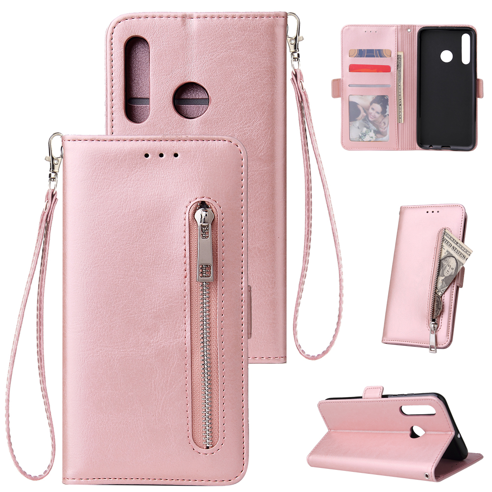 For Huawei Enjoy 9-Y7 2019-Y7 PRIME 2019 with fingerprint hole - Y7 PRO 2019 Solid Color PU Leather Zipper Wallet Double Buckle Protective Case with Stand & Lanyard Rose gold