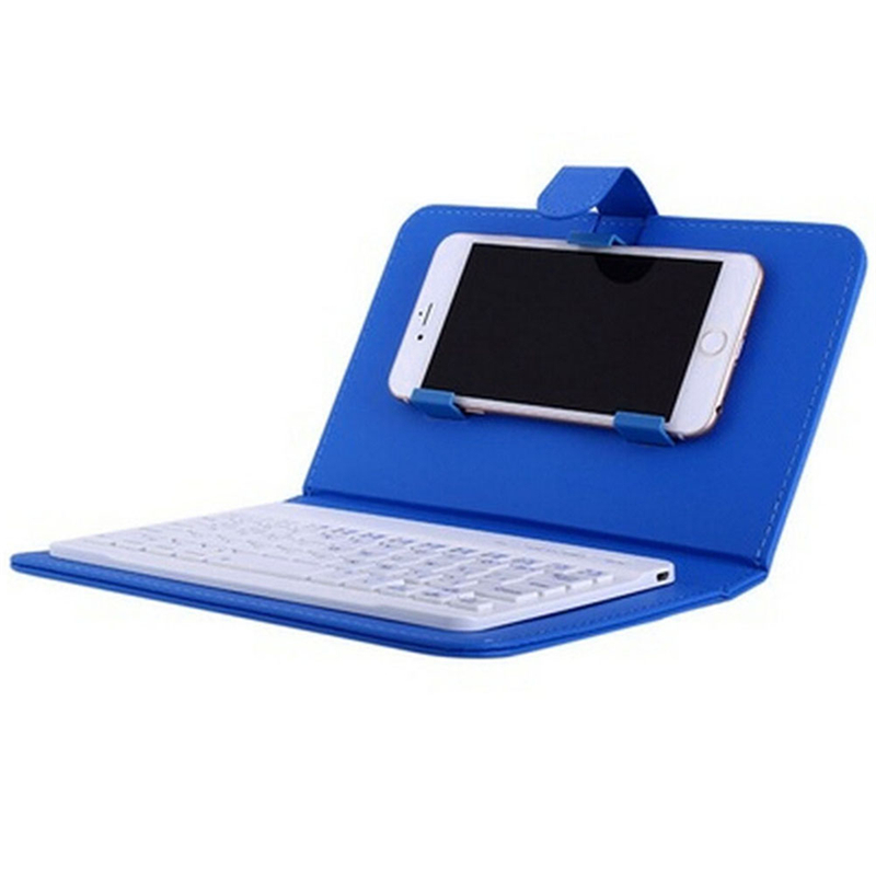 Portable PU Leather Wireless Keyboard Case for iPhone with Bluetooth Keyboard for 4.2-6.8 Inch Phones  Dark blue_Bluetooth keyboard + leather case