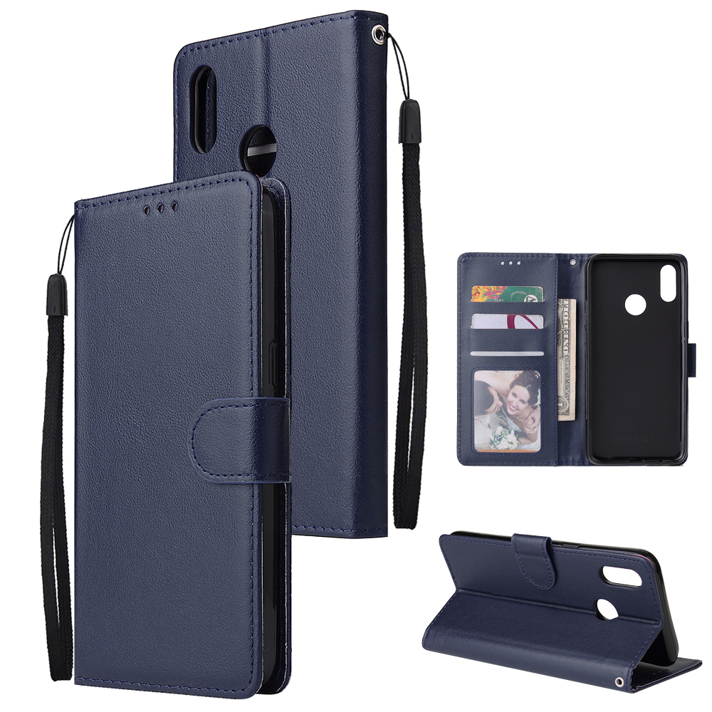 For OPPO Realme 3 pro Flip-type Leather Protective Phone Case with 3 Card Position Buckle Design Phone Cover  blue
