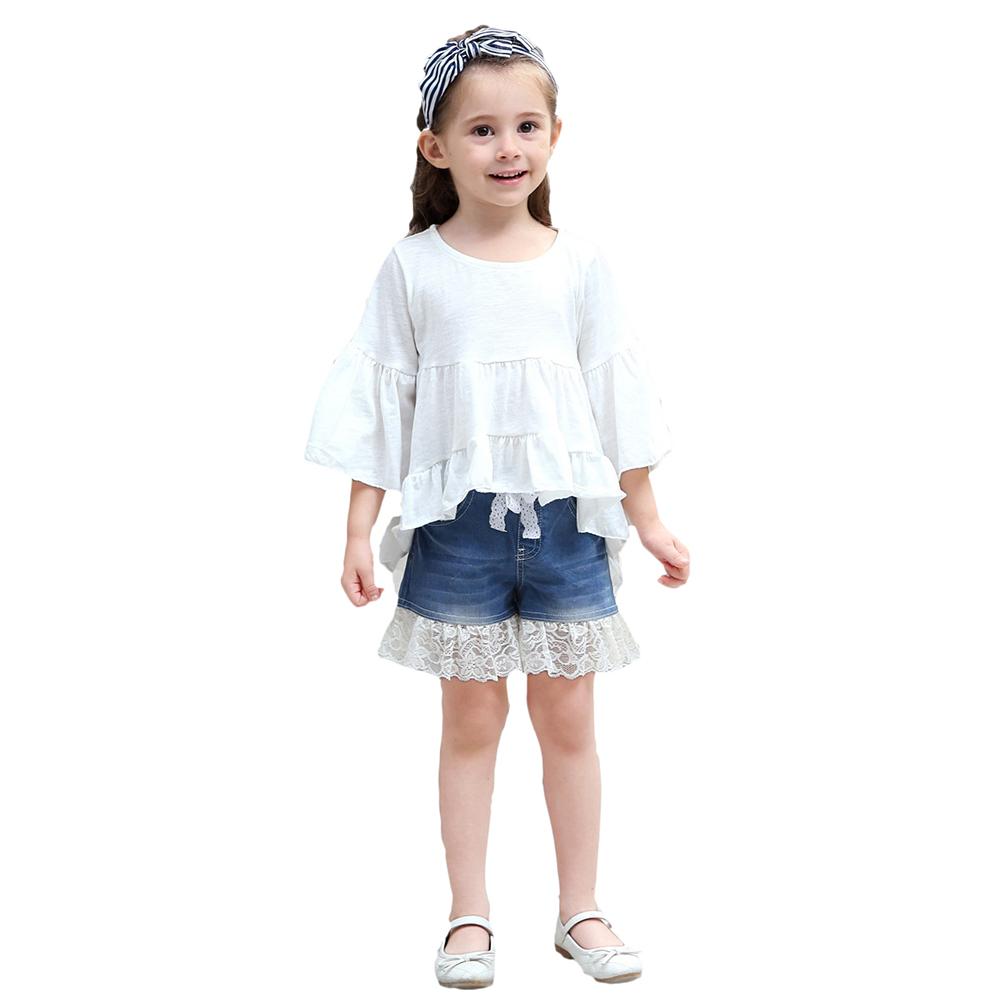Children Girl Cotton Short-Sleeve Tops Stylish Front Short Back Long Swallowtail Shirt Dress