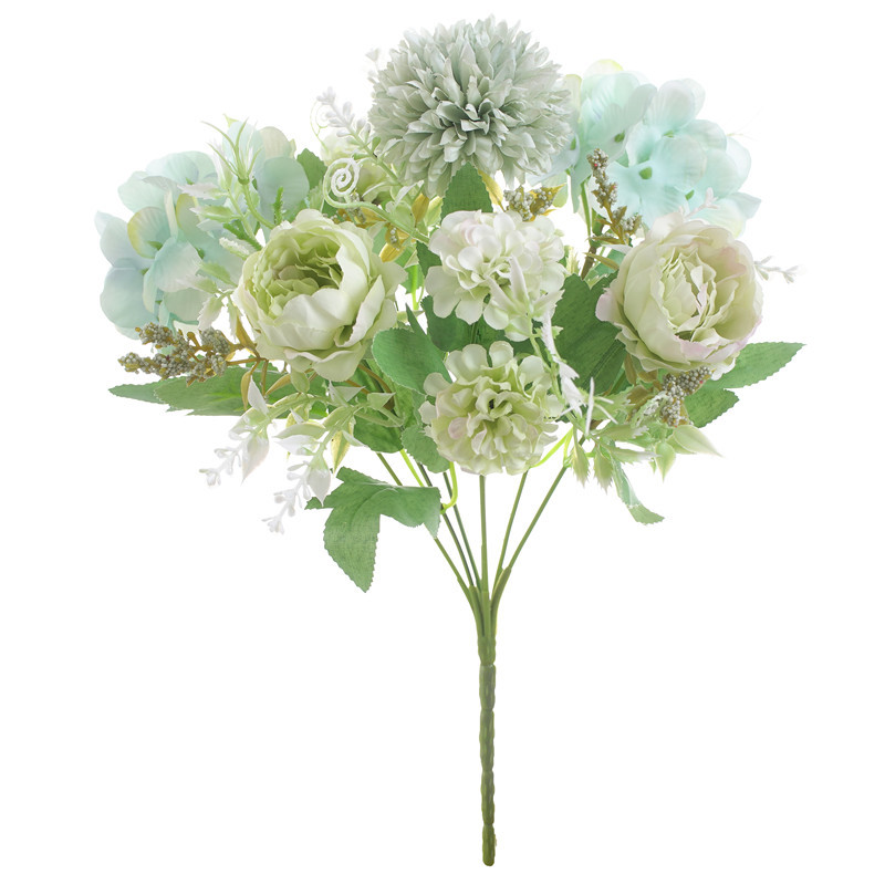 7 European-style Colorful Peony Artificial Flower Wedding Wedding Road  Home Interior Personality Floral Decoration White and green