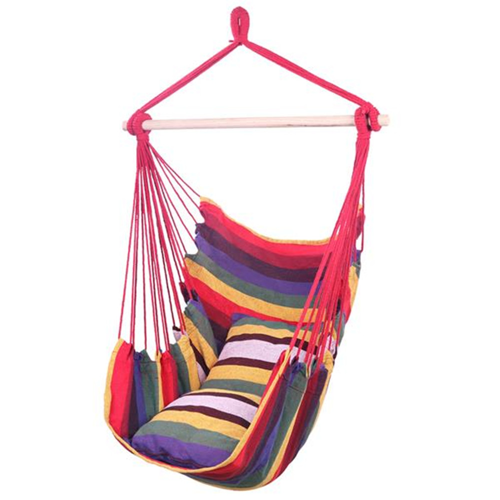 [US Direct] Hanging Rope Chair Swing Hammock Cotton Pillow For Outdoor Yard Garden Patio colorful