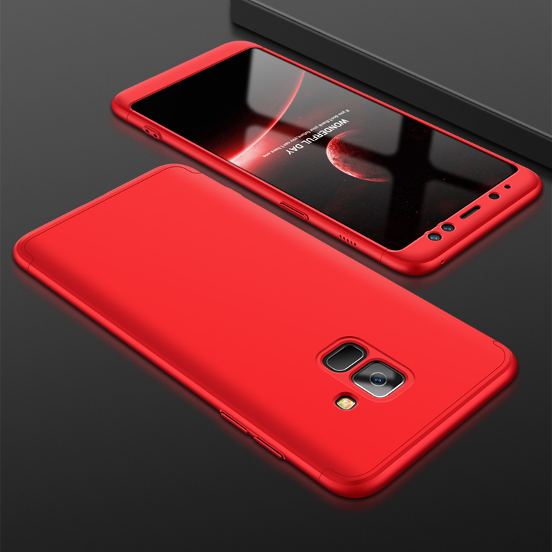 For Samsung A8 2018 360 Degree Protective Case Ultra Thin Hard Back Cover red