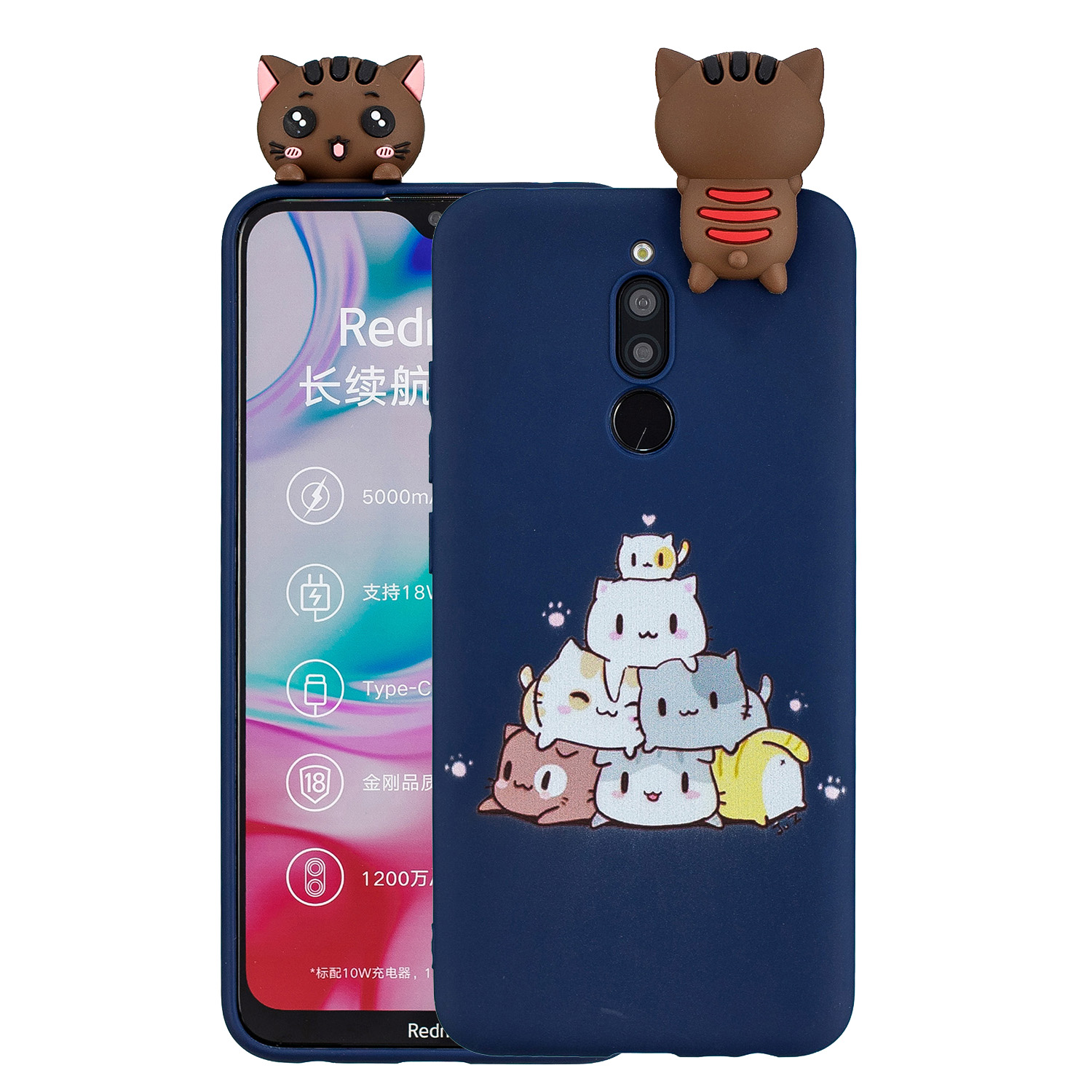 For Redmi 8/8A/5/Note 8T Mobile Phone Case Cute Cellphone Shell Soft TPU Cover with Cartoon Pig Duck Bear Kitten Lovely Pattern Royal blue