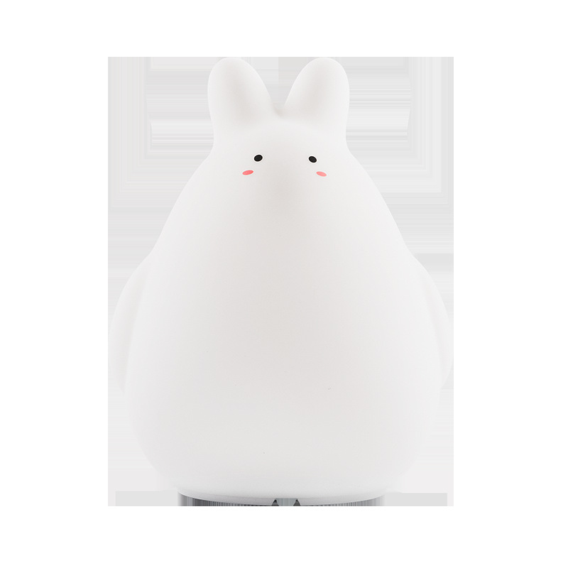 White rabbit silicone colorful patting small night lamp children's bedroom atmosphere lamp color