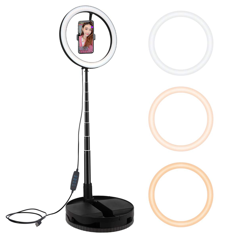 Photography Studio Ring Light Stand Foldable Lamp for Photo Video Selfie Makeup Fill Light G1 Live fill light black