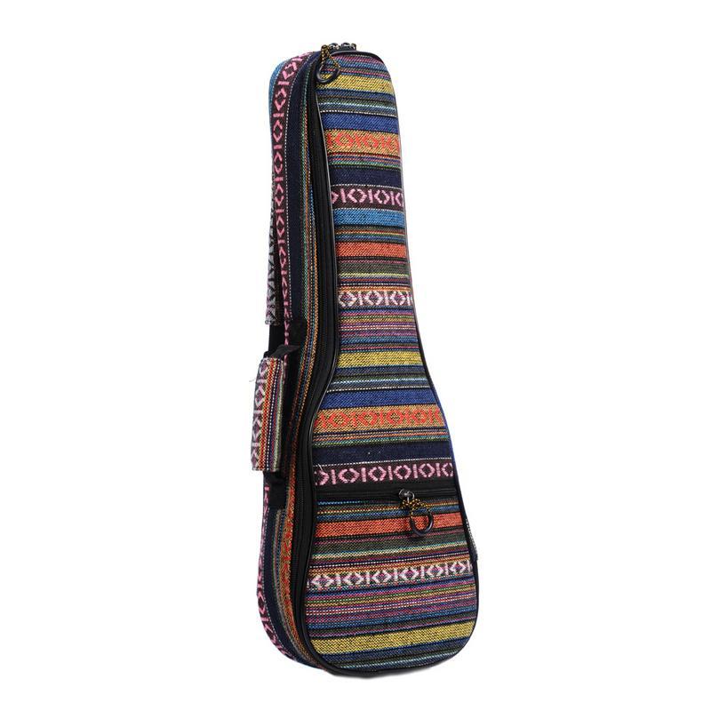 21/23/26 Ethnic Knitting Style Ukulele Bag Backpack Double Shoulder Strap Cotton Padded Ukelele Carrying Case 21 inch